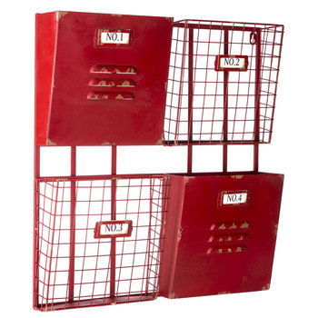 Red 4-Pocket Metal Wall Shelf